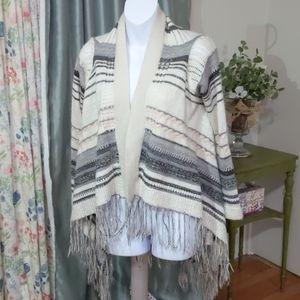 Aqua knit fringe cardigan